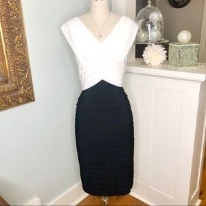 Adrianna Papell Black & White Cocktail Party Dress